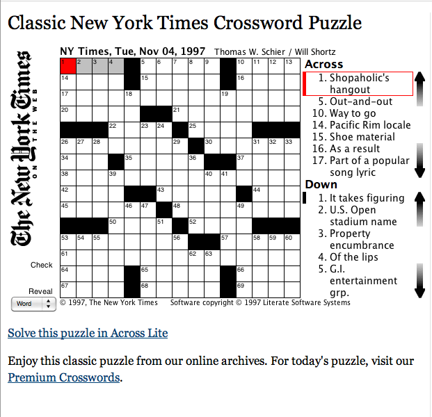 Free Classic New York Times Crossword Puzzle New One Each Day