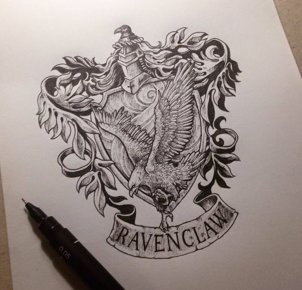 Harry potter raven claw tattoo idea tattoo love harry potter drawings harry potter fan - Harry potter dessin ...
