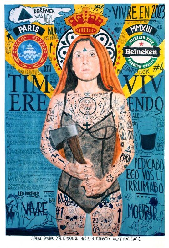Léo Dorfner, L'étrange similitude entre le principe de plaisir et l'utilisation violente d'une hache, aquarelle sur papier, 150x100 cm, 2012 ©