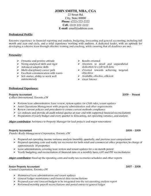 Click Here to Download this Property Accountant Resume Template - property manager job description