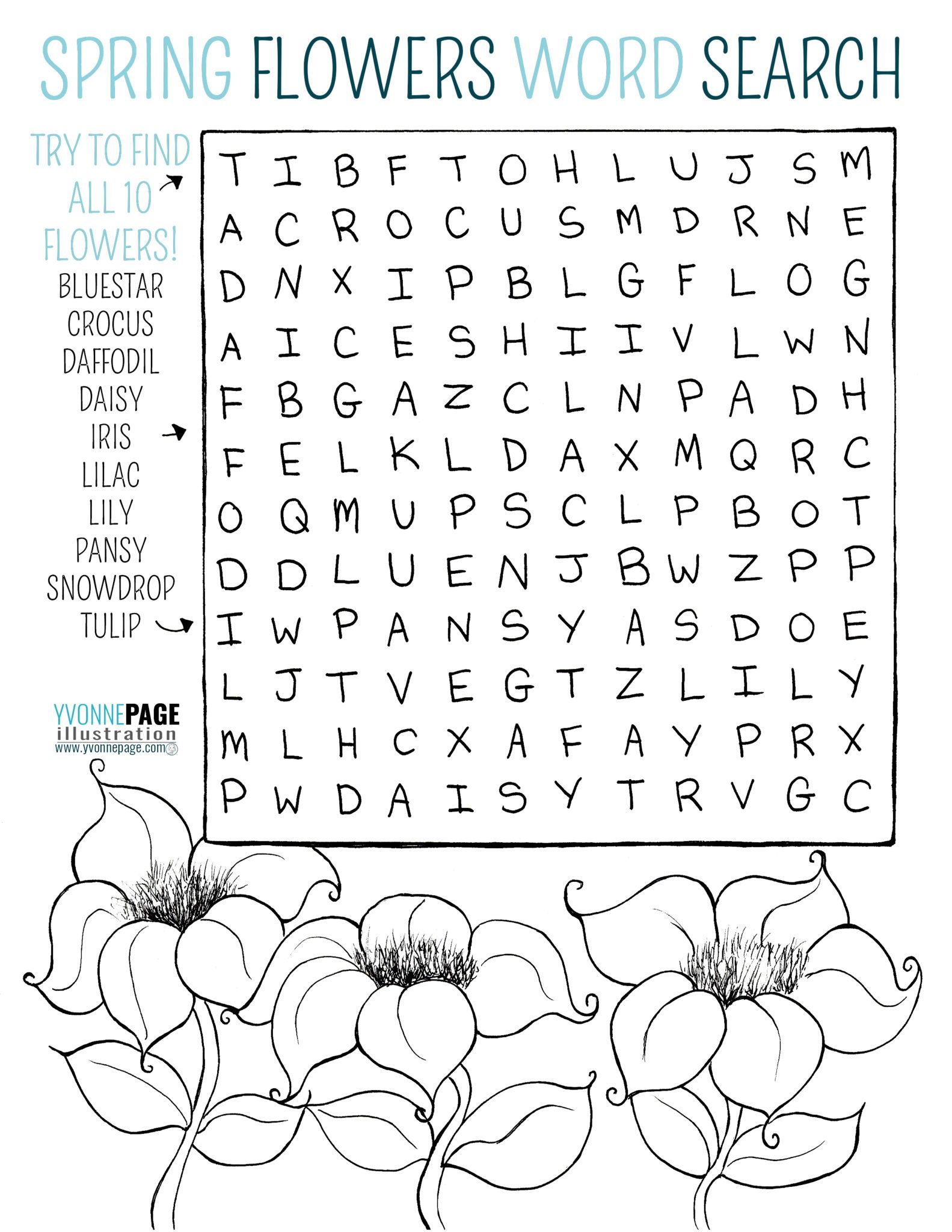 Spring flowers word search. Find all ten flowers then