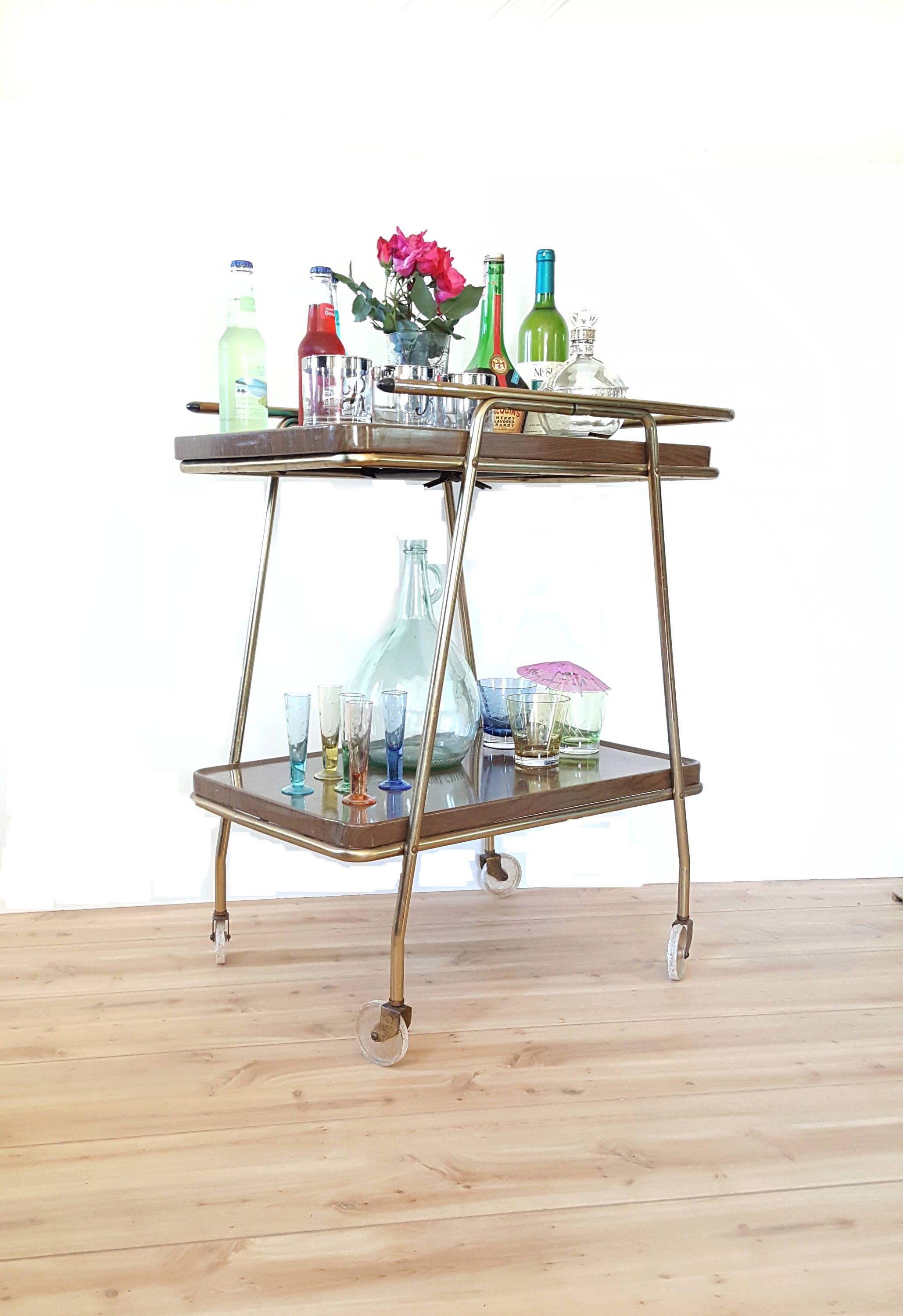 Outdoor buffet table serving cart as well century modern console table - Mid Century Retro Bar Cart Cosco 2 Tier Rolling Cart Atomic Serving Cart Faux