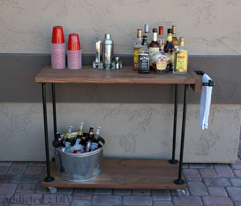 DIY Rustic Industrial Bar Cart Industrial bar cart Rustic
