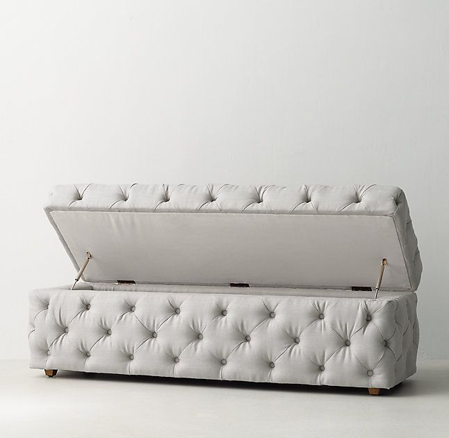 RH TEENu0027s Simone Upholstered Wide Storage Bench:Recalling 19th Century  French Designs, Our