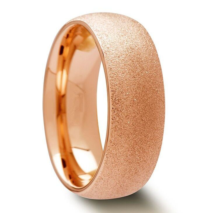 Tungsten Carbide Mens Brushed Gold Plated 8MM Wedding Band Ring M53