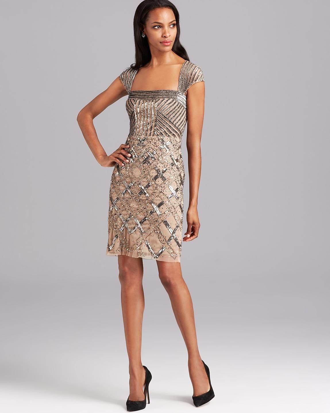 Adrianna papell Short Sleeve Fully Beaded Cocktail Dress in Pink ...