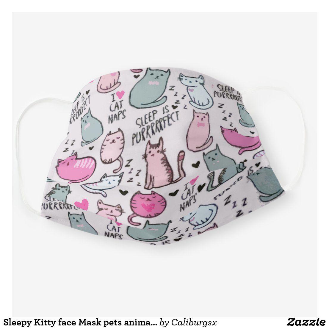 Sleepy Kitty face Mask pets animals kitty | Zazzle.com