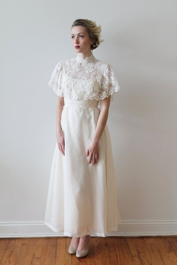 09300ce989a Vintage 1970s High Neck Ankle Length Wedding Dress with French Lace Capelet  Details
