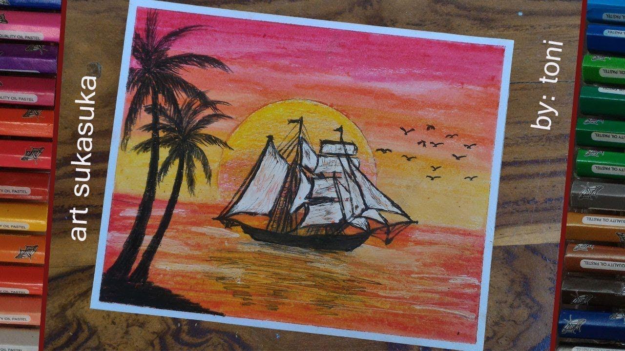 Sunset Easy Drawing Cara Menggambar Pemandangan Laut