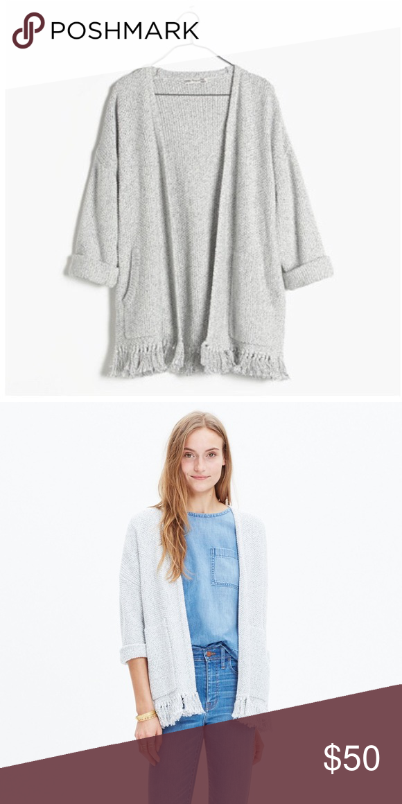Madewell Momento Fringe Cardigan Sweater A toss-on marled cardigan in a cotton knit that drapes (and layers) like a dream. Cuffed sleeves and hand-applied fringe make this sweater a design-team favorite. Only worn a few times, in great condition! Madewell Sweaters Cardigans