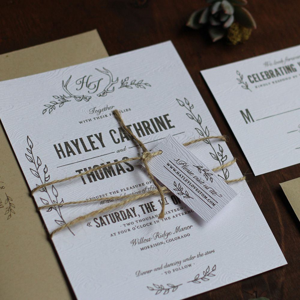 Antler Wedding Invitation Rustic Wedding Invitation Oak Tree