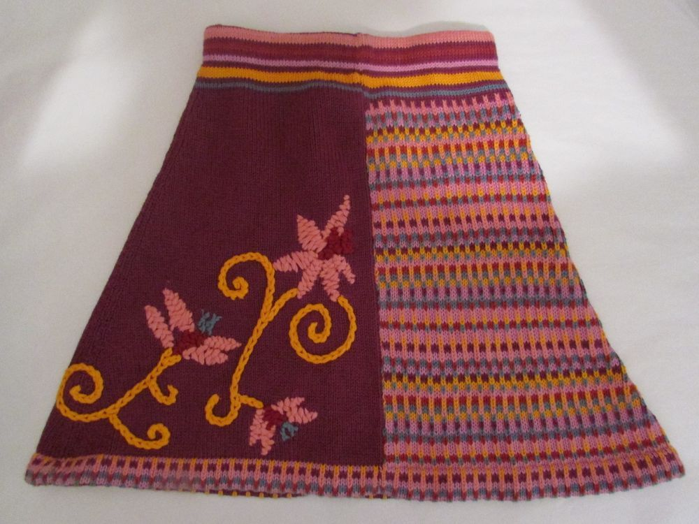 SKELAGAMINK Sky Blue Pink Girls 6 Hand Knitted Skirt Purple Pink Yellow Flower #Skelagamink #Everyday