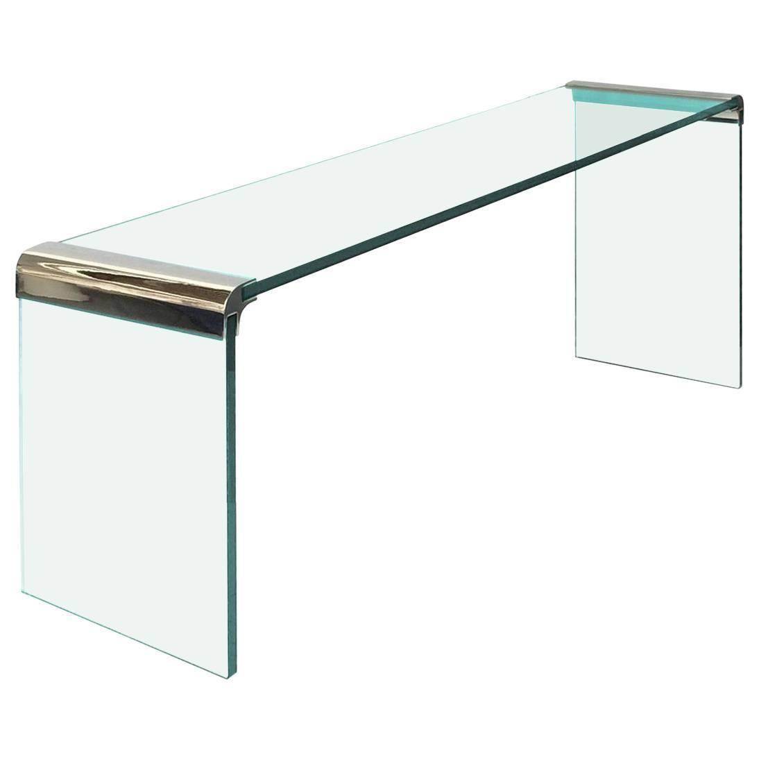 Waterfall Console Table By Leon Rosen For Pace In Polished Nickel Glass Console Table Modern Console Tables Console Table