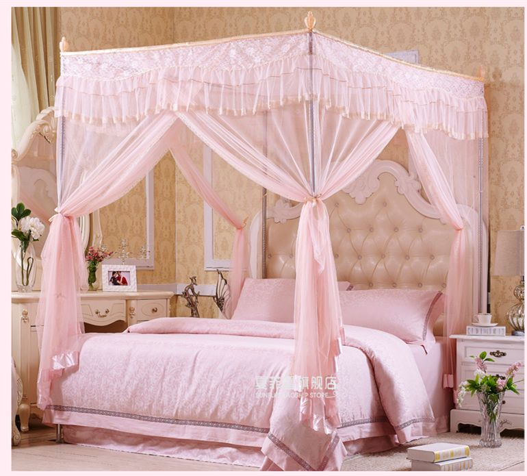 Steel Frame 4 Canopy Mosquito Bed Nets, How To Put Mosquito Net For Bed