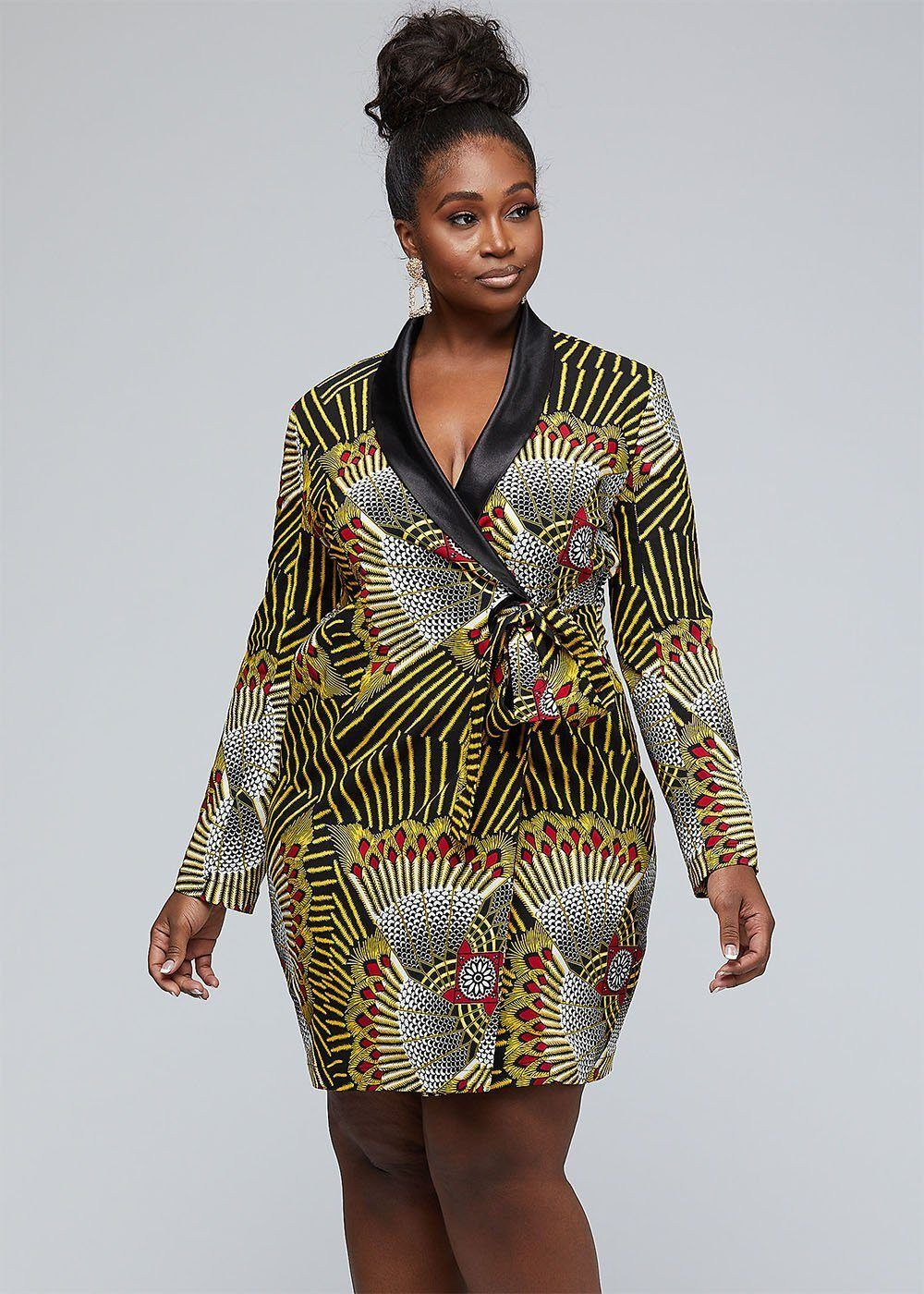 Asani African Print Stretch Woven Blazer Wrap Dress (Yellow Red Fans) #africanprintdresses