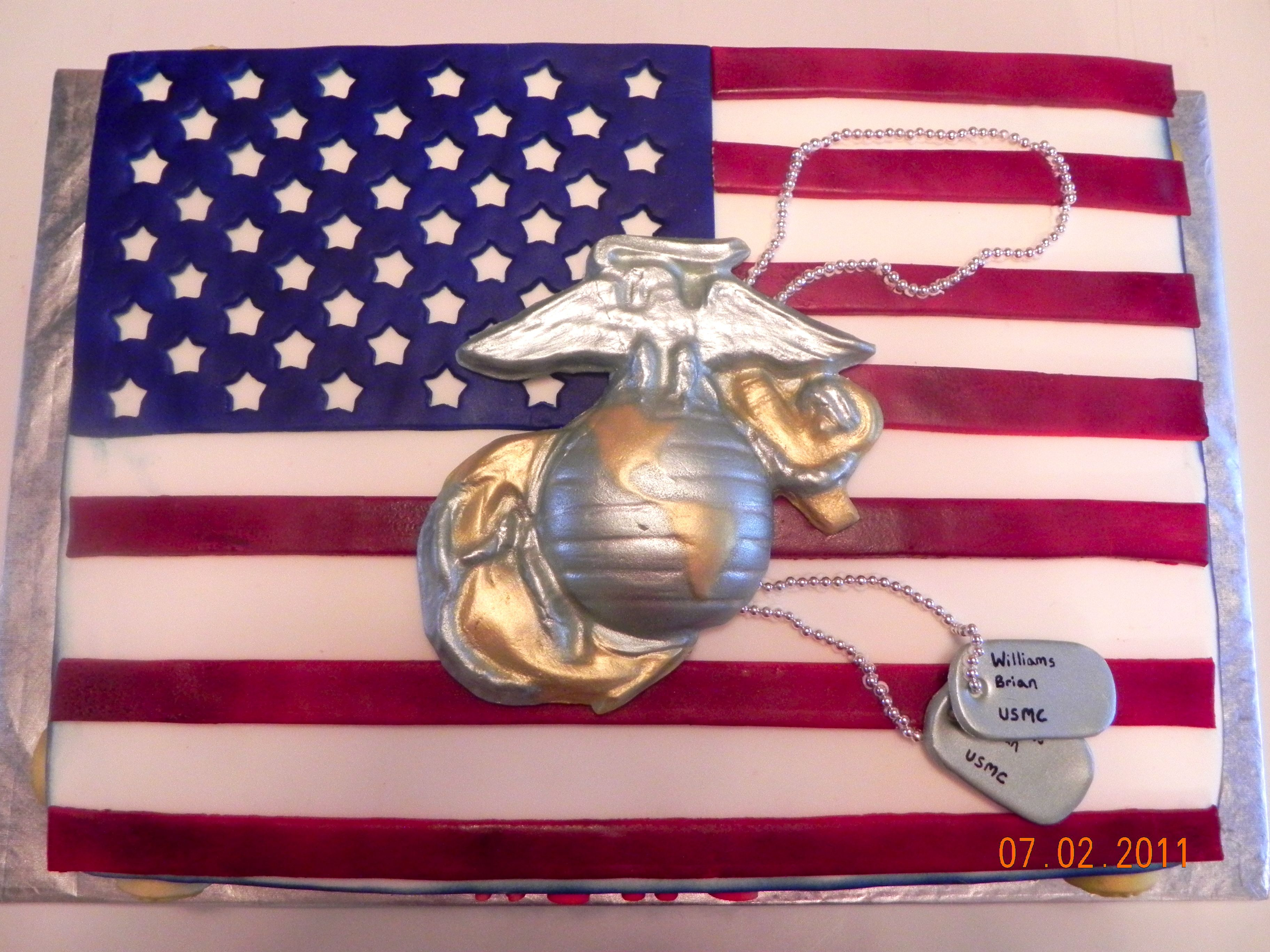 ad2a22e606b Marine Cake - This is a cake that I made for a friend whose son just  graduated from Marine boot camp