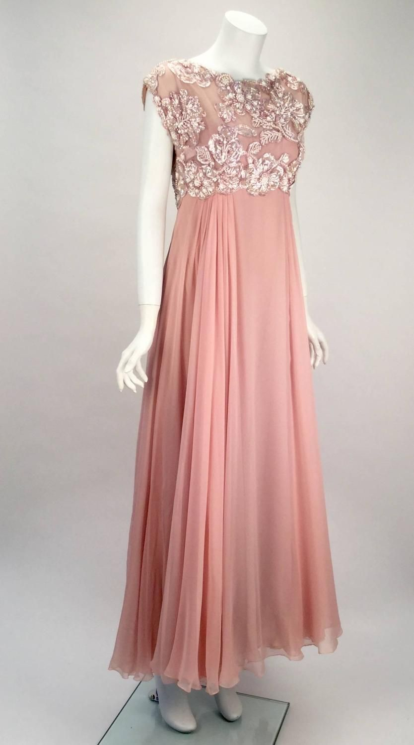 1960s Helen Rose Silk Pink Beaded Evening Gown | Evening Gowns ...