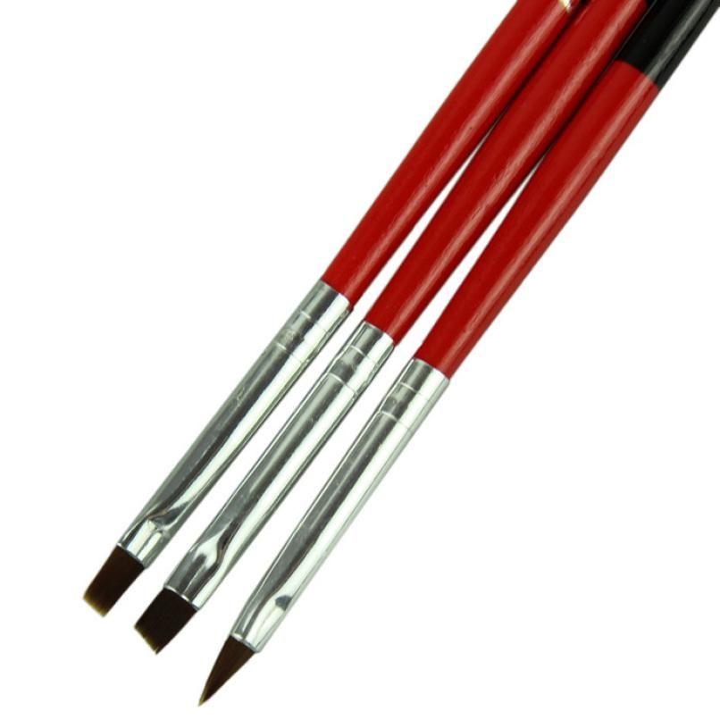 2017 HOT Nieuwe Collectie als in de foto 3 stks/partij rode Zachte en Professionele Pen Nail Art Penselen Tool Set Anne