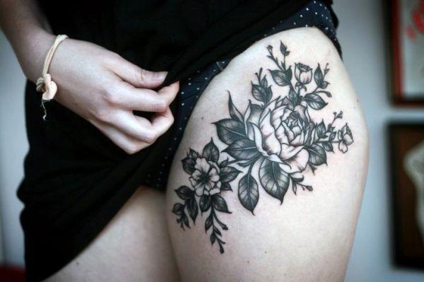 Tatuaże Damskie Kwiaty Na Udzie Tattoos Wzory Tatuaży