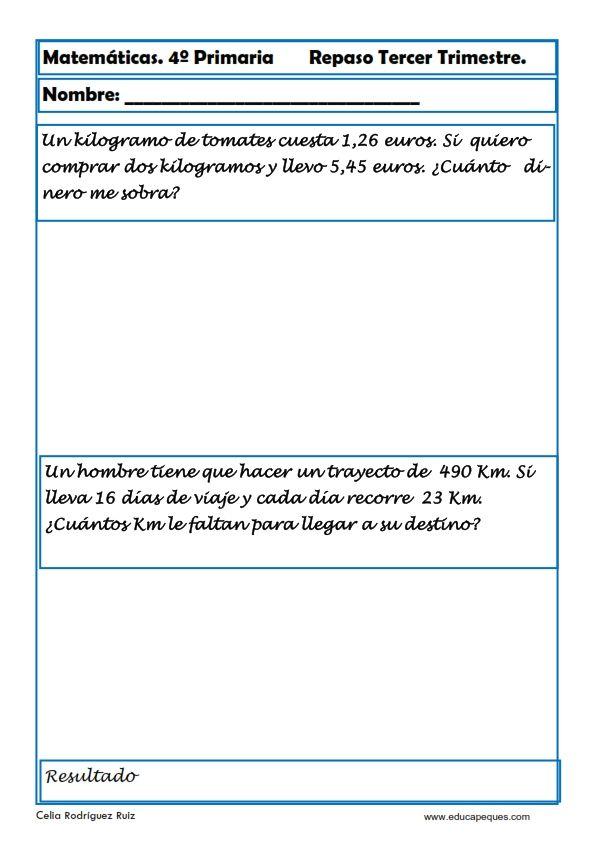 Fichas de Matemáticas Cuarto Primaria | Matemàtiques cicle mitjà ...