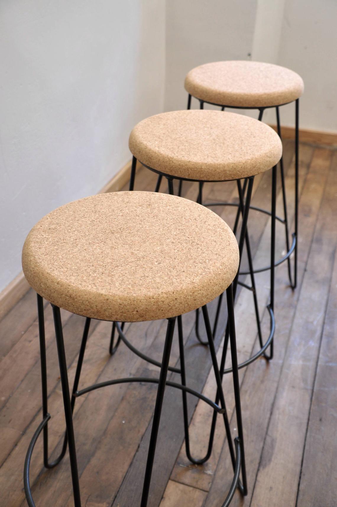 Industrial Bar Stool With Cork Seat Handmade Etsy Industrial Bar Stools Bar Stools Stool