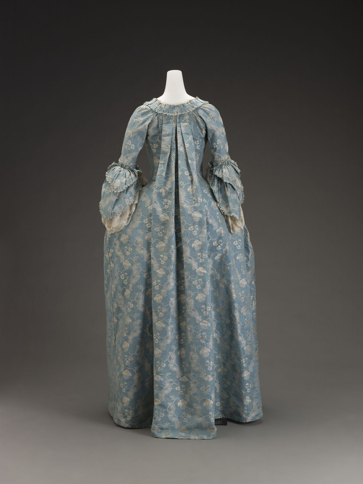 Back view: Dress, French, c 1760, silk brocade. Indianapolis Museum of Art.