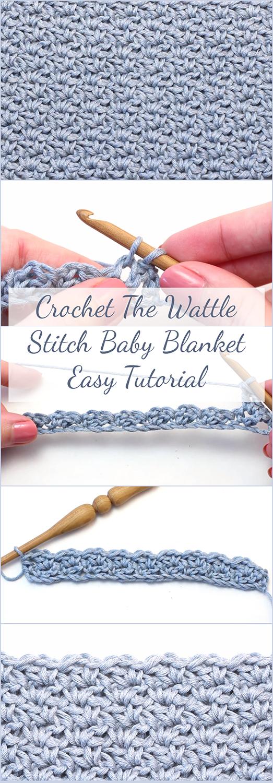 Free Tutorial - Crochet The Wattle Stitch Baby Blanket Easy Video ...