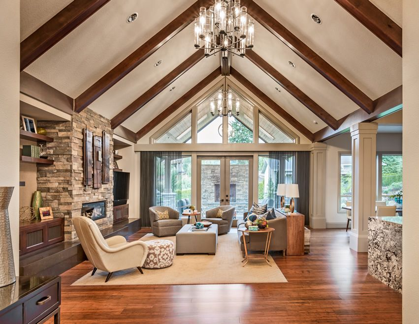 Upscale Living Room With Vaulted Ceiling Wood Flooring And Fireplace Vaulted Ceiling Living Room Rustic Living Room Design Vaulted Living Rooms