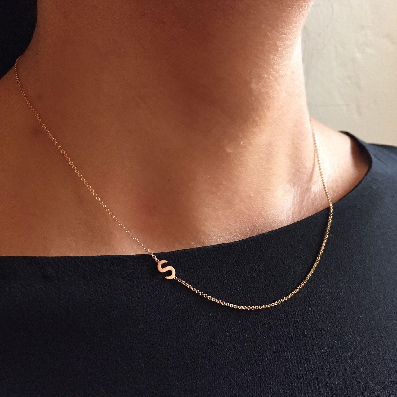 14k Gold Asymmetrical Initial Necklace Sideways Initial Necklace Initial Necklace 14k Gold Initial Necklace