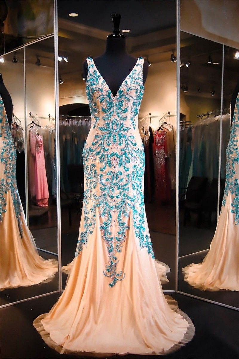 Gorgeous v neck low back champagne tulle turquoise beaded prom dress