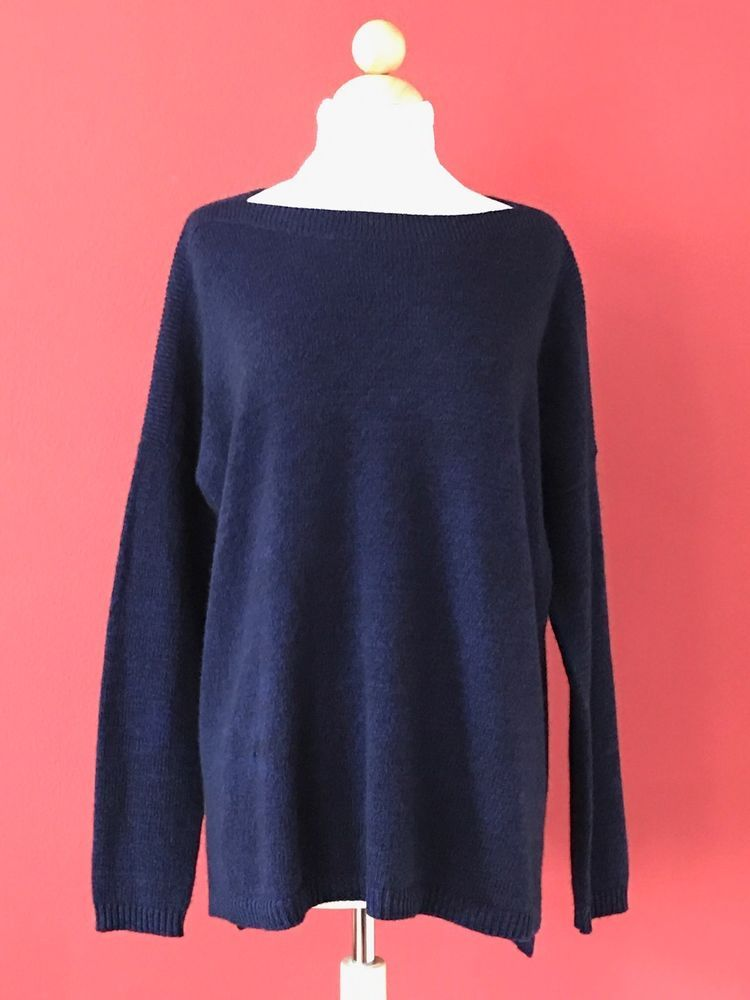 C By BLOOMINGDALES Blue Black 100% 2-Ply Cashmere Sweater Size L ...