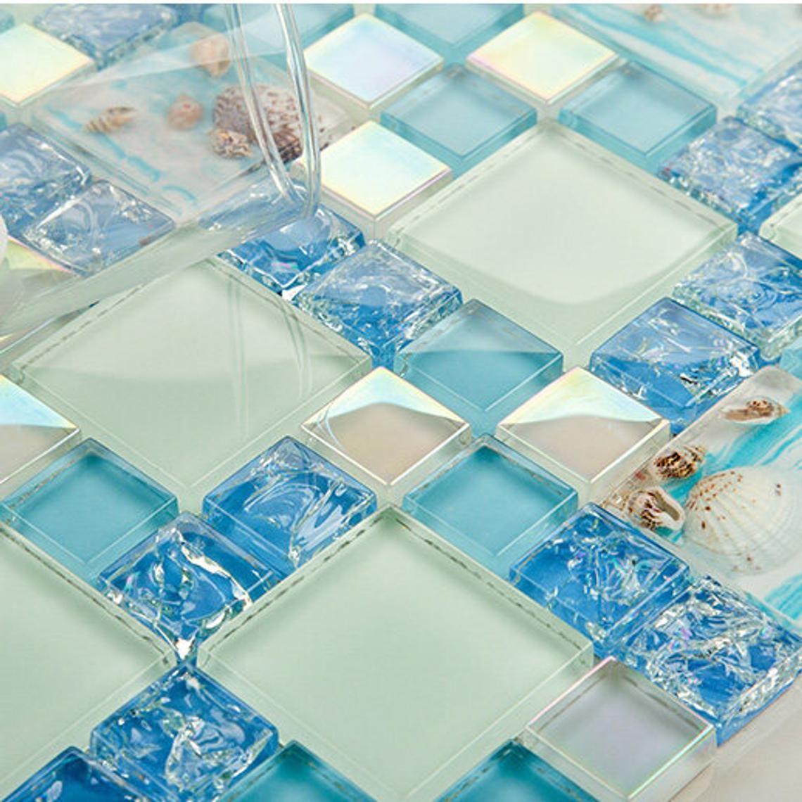 Blue Sparkly Backsplash Tile Crackled Crystal Glass Tile