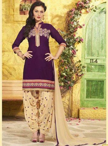 6a44d4bdda NS11315 Purple Color Chanderi Silk Patiala Designer Suit | Patiala ...