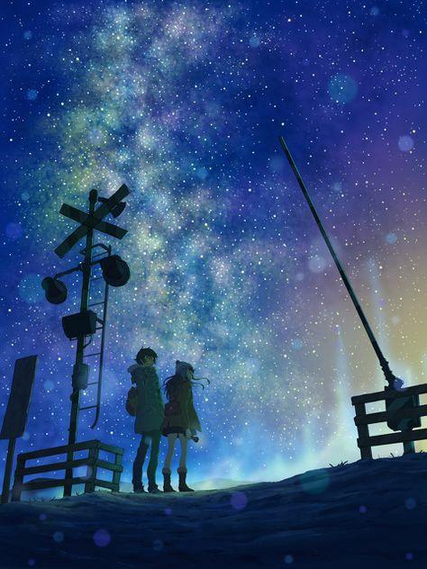 踏切 星降る夜に とろっちのイラスト アニメーションアート ランダム写真 星空 イラスト