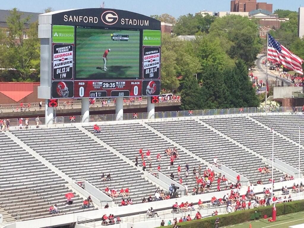 Bulldogs Watch Masters In Sanford Stadium During G