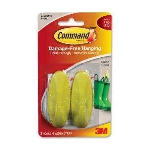 Command Damage-free Hanging Hook,1kg Capacity - Green by Command. $7.78. Command Medium Designer Hooks leave no surface damage and are reusable. Apply easily. Each hook holds firmly yet removes cleanly from almost any surface using stretch adhesive technology. Each hook holds 3 lb. or 1 kg.