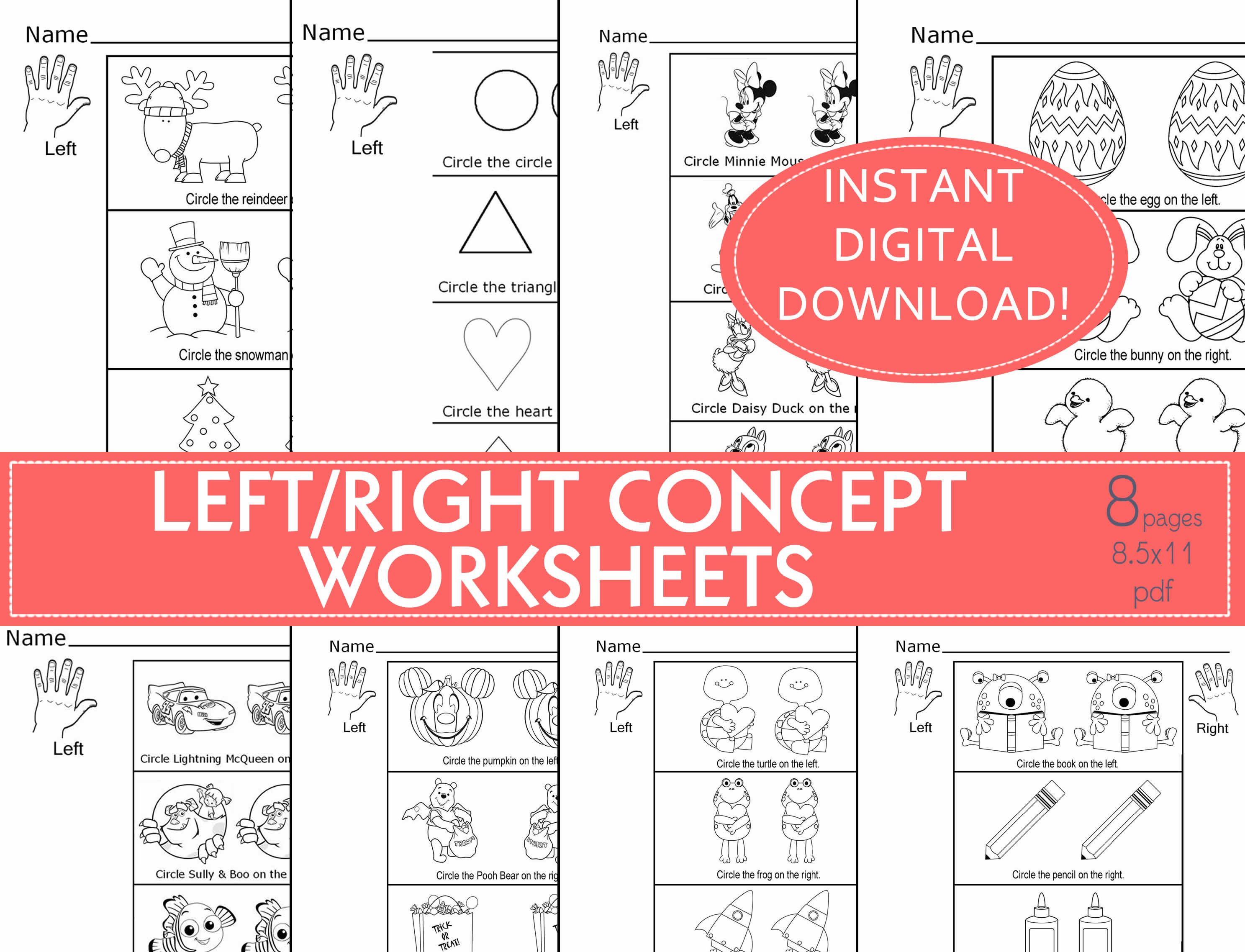 Left Amp Right Concepts Worksheet Preschool Daycare Child