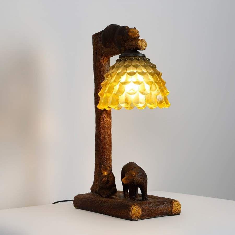 rustic fun resin trunk bears 1 light