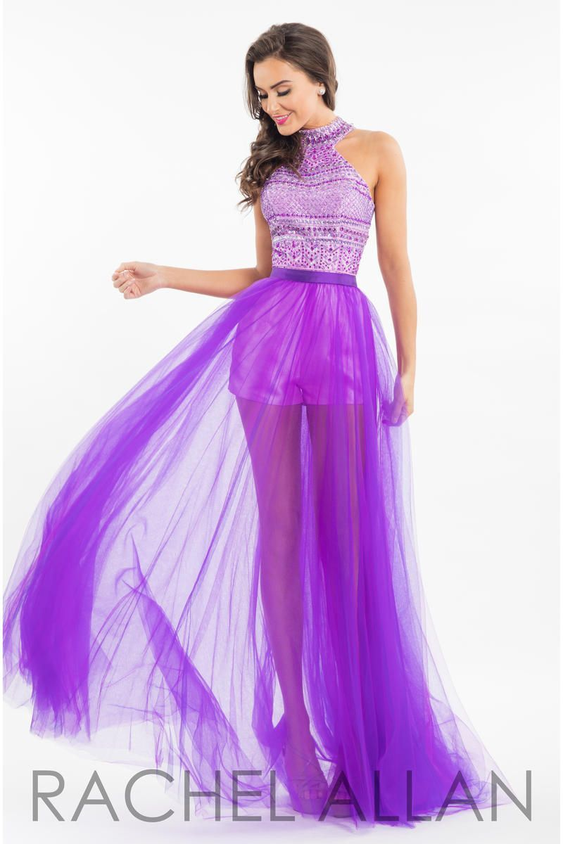 Rachel Allan 7547 Is A Two Piece Gown With A High Neck Beaded Top Mikado Romper And A Removable Sheer Tu Purple Prom Dress Prom Dresses Halter Top Prom Dresses [ 1200 x 800 Pixel ]