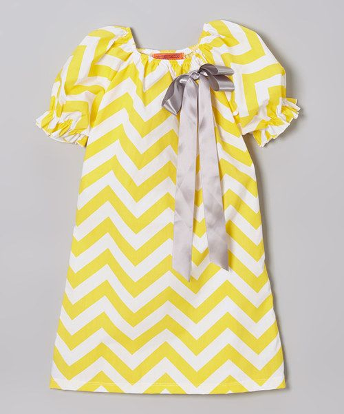 853651191cee Yellow Zigzag Puff-Sleeve Swing Dress - Toddler & Girls by Funkyberry  #zulilyfinds
