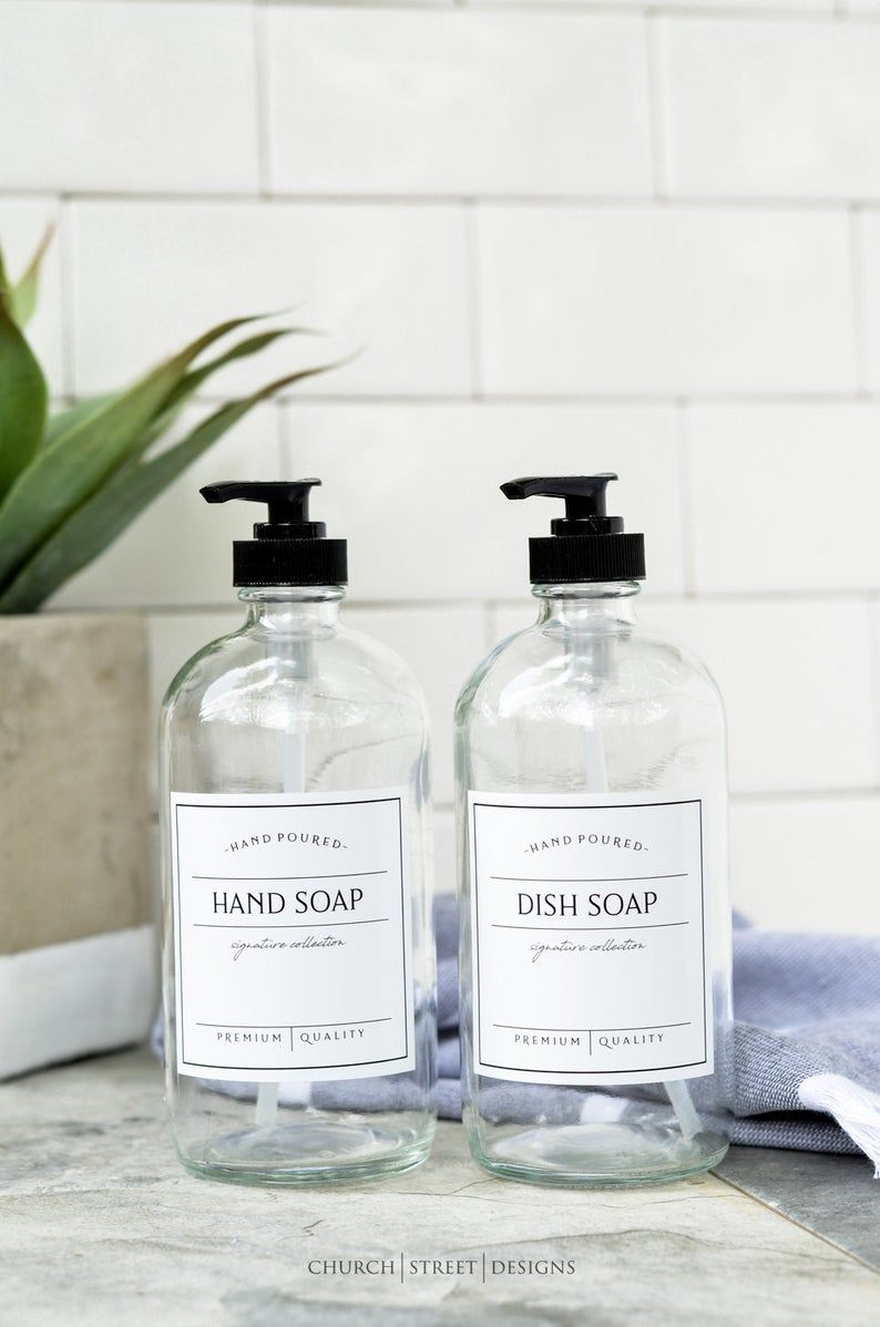 16oz Clear Glass Soap Dispenser Dish Soap Bottle Waterproof Label Reusable Soap Dispensers Free Shipp Glass Soap Dispenser Refillable Soap Hand Soap Pump