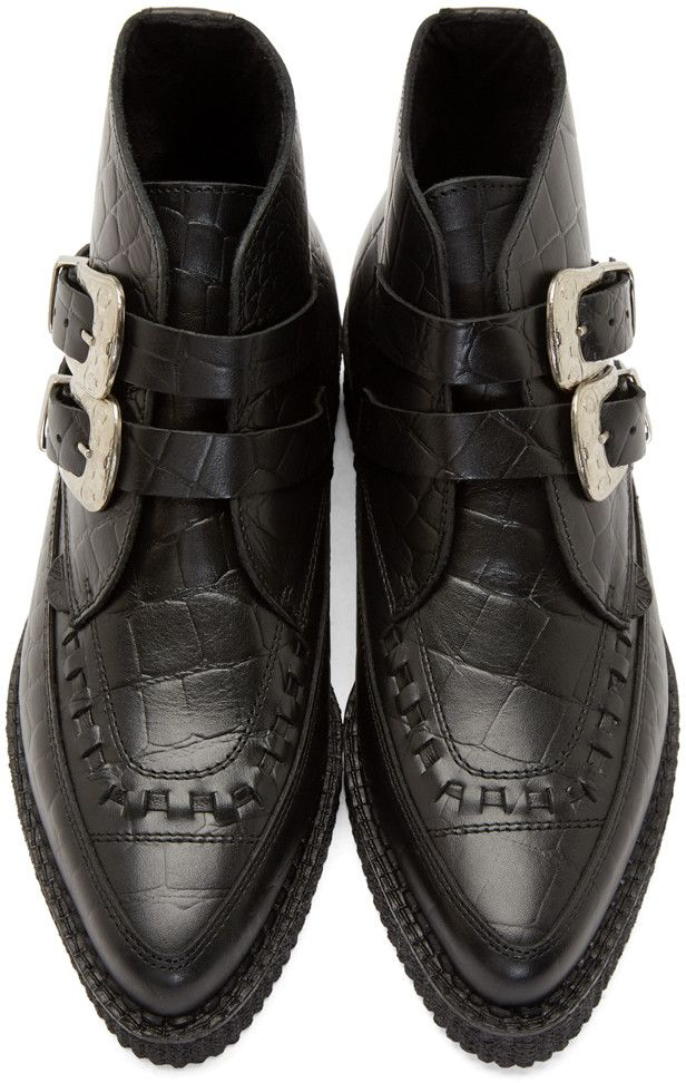 fc6d8ab2a Underground Black Croc-Embossed Bowie Creeper Boots Saint Laurent Shoes Mens,  Creeper Boots,