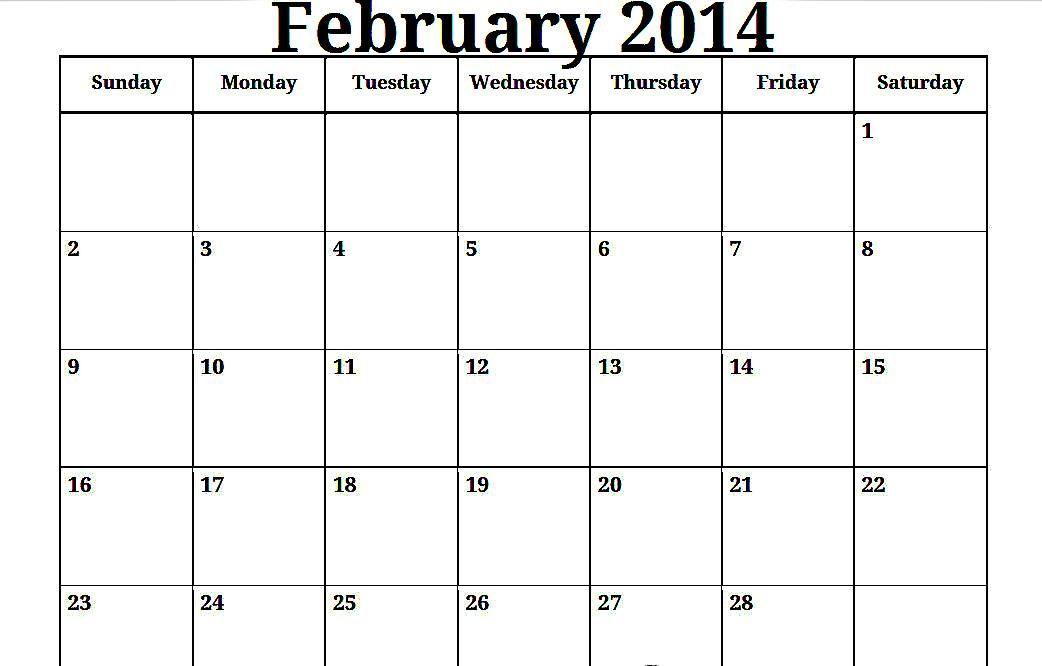 2014 Print Blank Monthly Calendar 2014 Plain Monthly Calendar