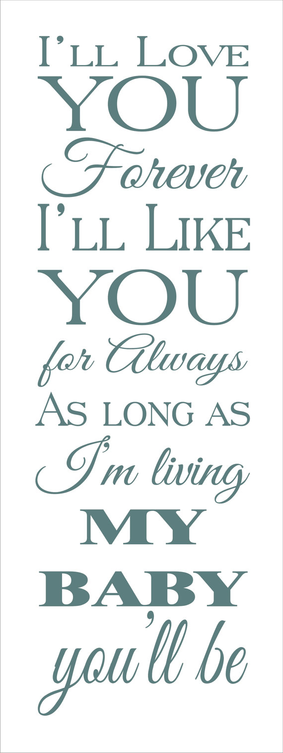 I Ll Love You Forever Quote Wedding Stencil I'll Love You Forever 6X19Superiorstencils