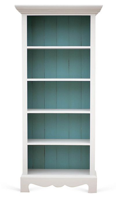 Gray and Turquoise Beach House Bookcase | Coastal Decorating ...