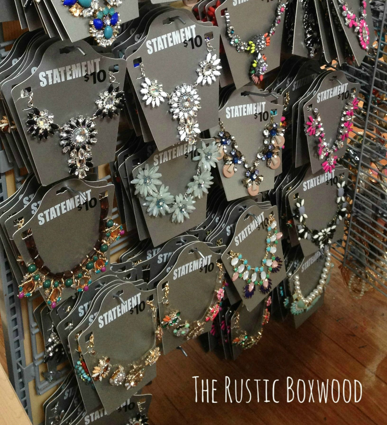 ed0147e974501 STATEMENT NECKLACES….FROM WALMART!! All about it at therusticboxwood ...