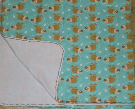 Blue Puppy Infant Receiving Blanket by StitchesByDee on Etsy, $12.00