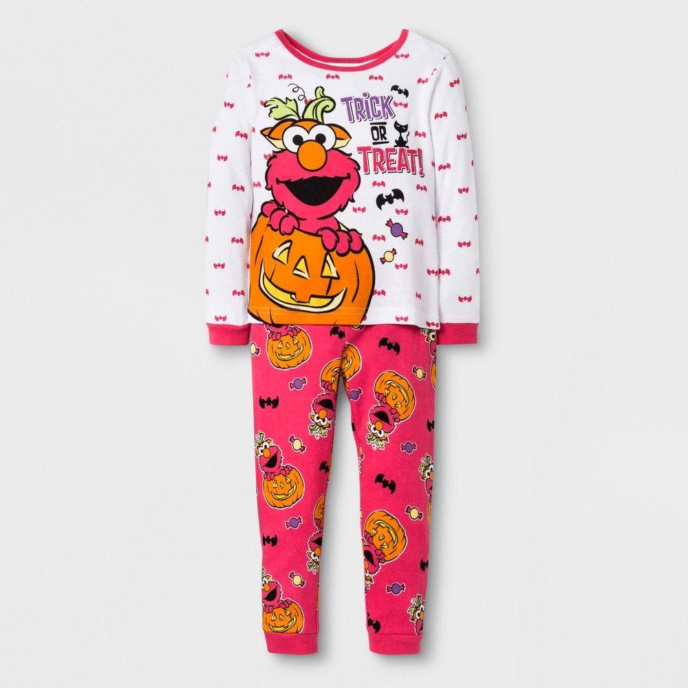 119039605 Sesame Street Toddler Girls' 2pc Cotton Pajama Set - White 3T ...
