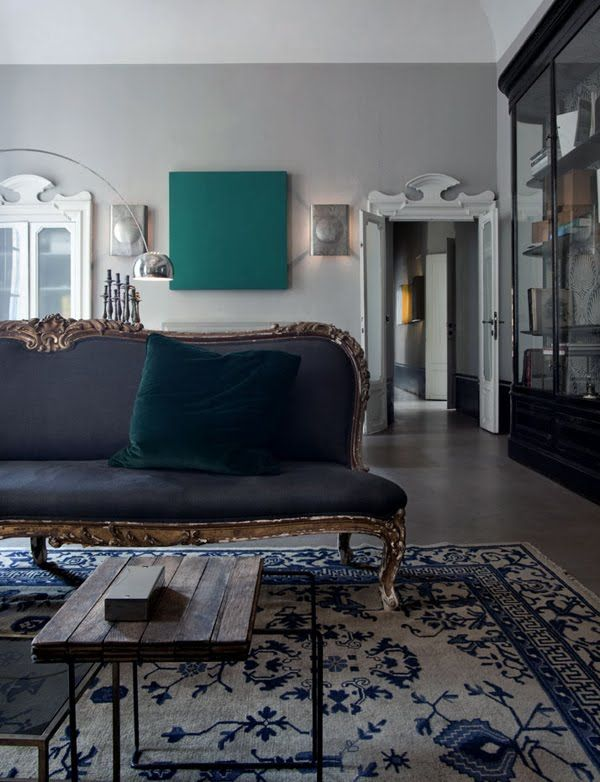 Blue Living Room With And White Oriental Rug Antique Gold Furniture Velvet Pillow