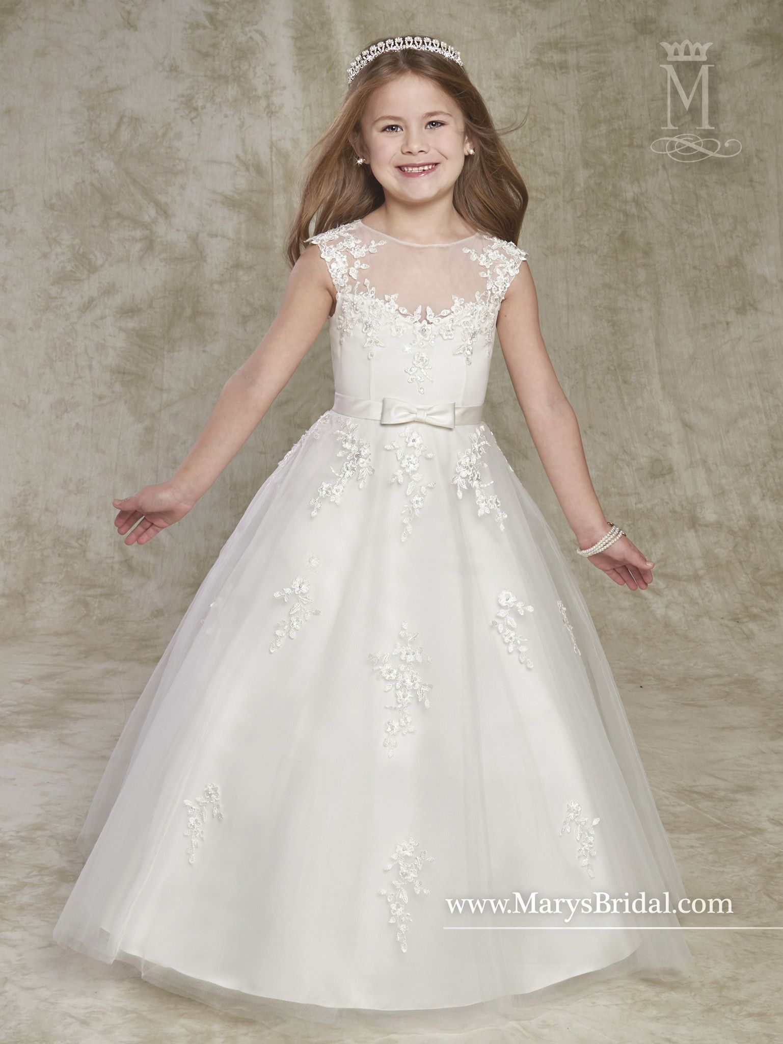 9fb8e5559e Cap Sleeve Tulle Lace Flower Girl Dress by Mary s Bridal Cupids F531 ...
